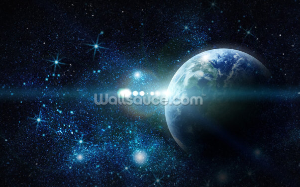 Realistic Planet Earth in Space Wallpaper Wall Murals