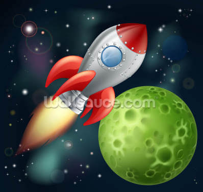 Cartoon Rocket Wallpaper Wall Murals