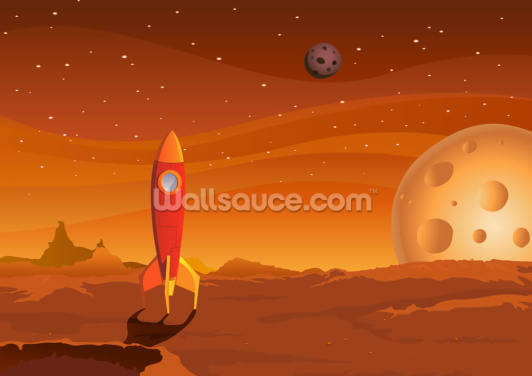 Rocket on Alien Planet Wallpaper Wall Murals