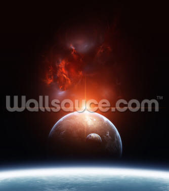 Earth, Planets and Red Nebula Wallpaper Wall Murals