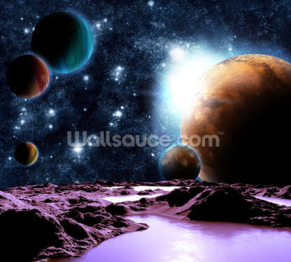 Abstract Planets with Water Wallpaper Wall Murals