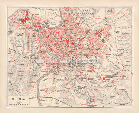 Map of Rome 1878 Wallpaper Wall Murals