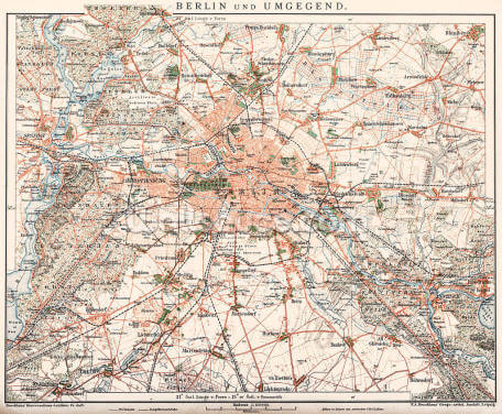 Antique Map of Berlin 1898 Wallpaper Wall Murals