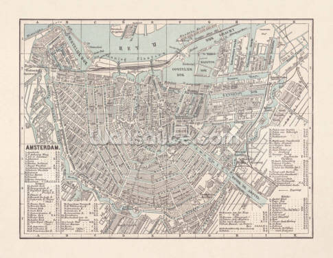 Map of Amsterdam 1893 Wallpaper Wall Murals