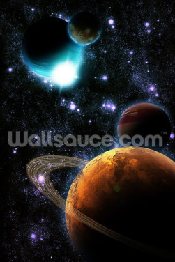 Abstract Planets with Star Nebula Wallpaper Wall Murals