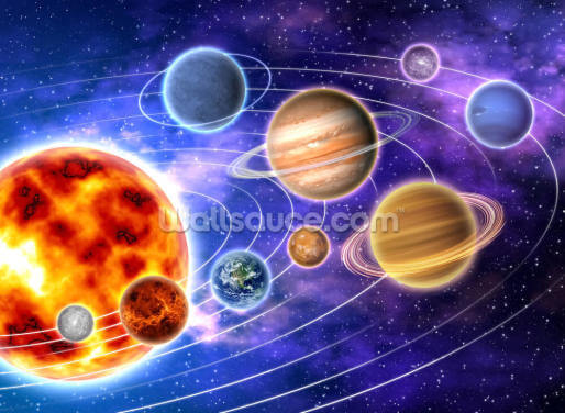 Planets Orbiting Sun Wallpaper Wall Murals