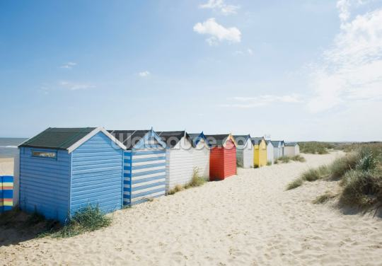 Brightly Coloured Beach Huts Wallpaper Wall Murals