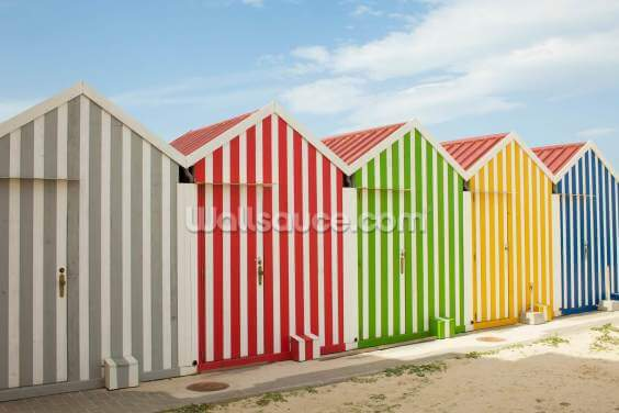Striped Beach Huts Wallpaper Wall Murals