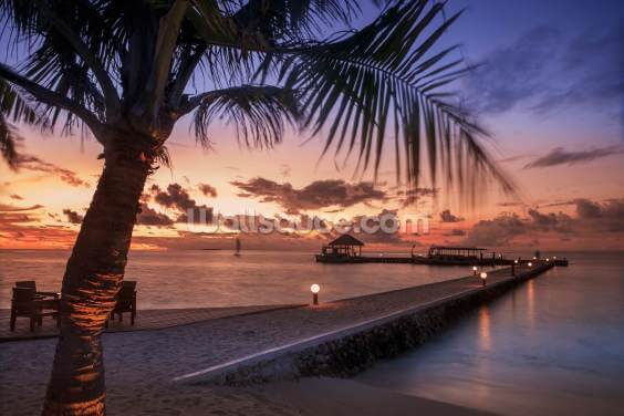 Peaceful Maldives Sunset Wallpaper Wall Murals
