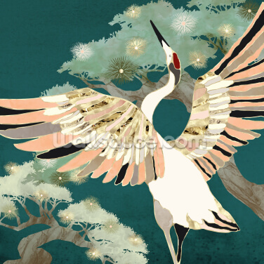 Dancing Crane Wallpaper Wall Murals