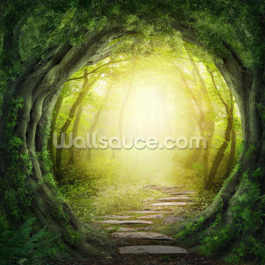 Road in Dark Forest Wallpaper Wall Murals