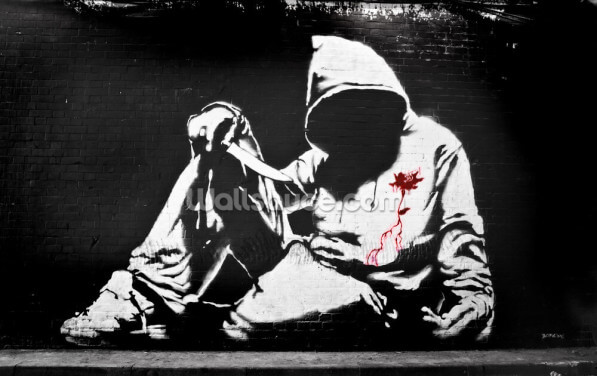 Banksy Hoodie with Knife Graffiti Wallpaper Wall Murals