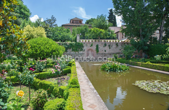 Alhambra Palace Gardens Wallpaper Wall Murals