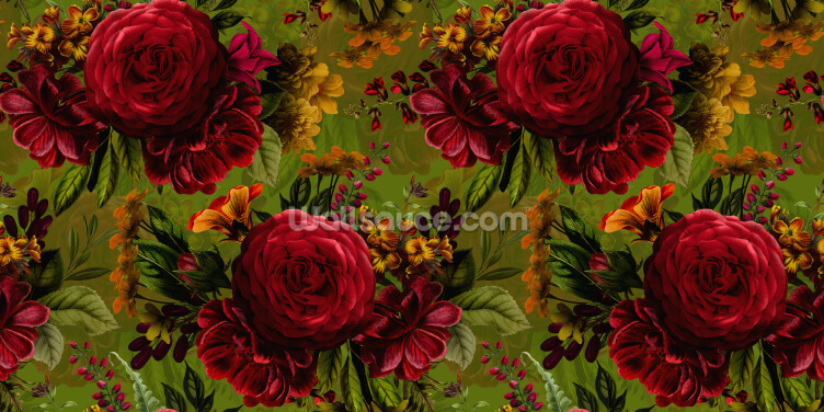 Ruby Roses on Green Wallpaper Wall Murals