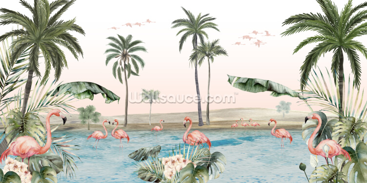 Flamingo Oasis Wallpaper Wall Murals