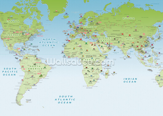 World Mapview Wallpaper Wall Murals