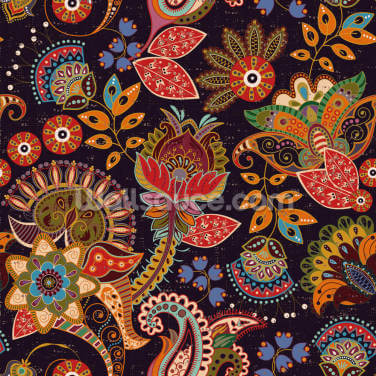 Folk Art Florals Wallpaper Wall Murals