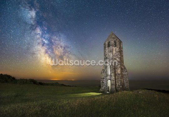 Medieval Lighthouse Next to The Milky Way Wallpaper Wall Murals