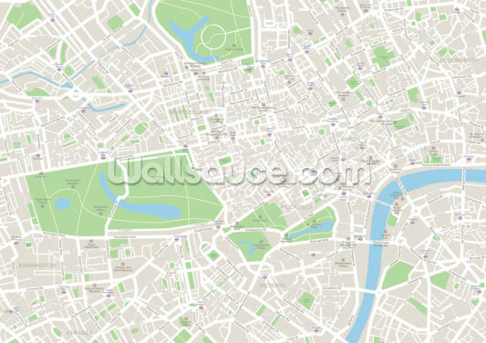 Detailed Map of London Wallpaper Wall Murals