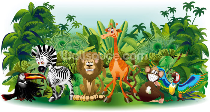 Wild Animals Cartoon Wallpaper Wall Murals