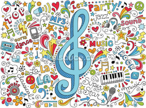 Groovy Music Doodles Wallpaper Wall Murals