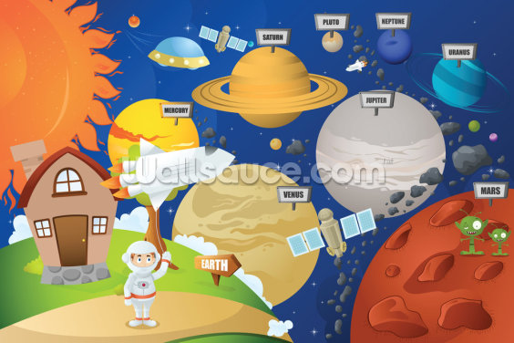 Astronaut and Planet System Wallpaper Wall Murals