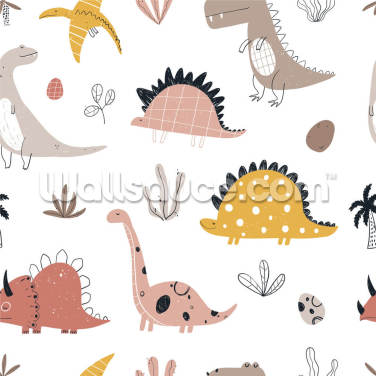 Cute Dino Friends Wallpaper Wall Murals