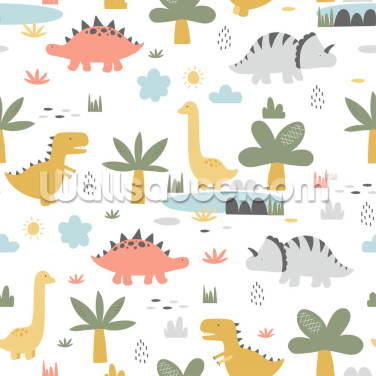 Dinosaur Trio Wallpaper Wall Murals