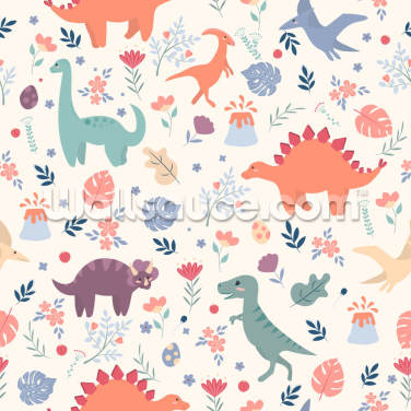 Floral Dino Wallpaper Wall Murals