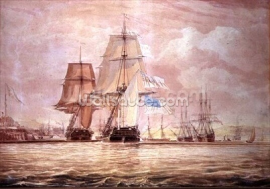HMS Shannon leading the Chesapeake into Halifax Harbour, 1813 (w/c) Wallpaper Wall Murals