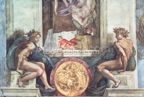 Sistine Chapel Ceiling: Ignudi (pre restoration) Wallpaper Wall Murals