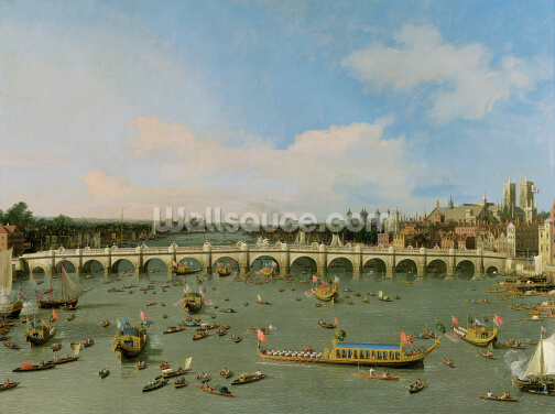Lord Mayors Procession by Westminster Bridge Wallpaper Wall Murals