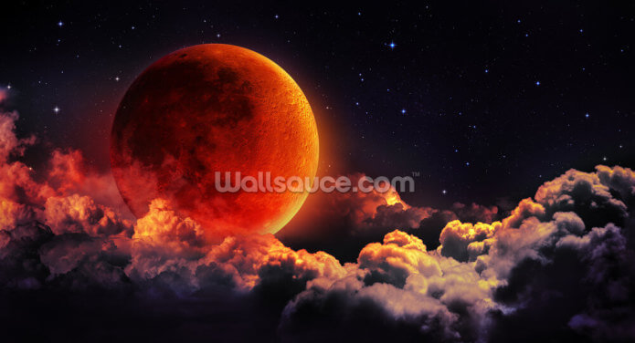 Fiery Moon Wallpaper Wall Murals