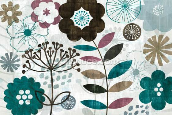Floral Pop Turquoise Wallpaper Wall Murals
