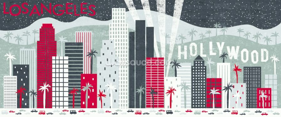 Hey Los Angeles Red Wallpaper Wall Murals