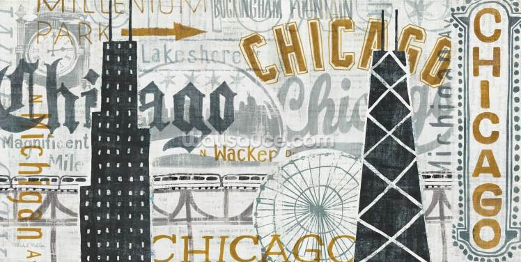 Hey Chicago Vintage Wallpaper Wall Murals