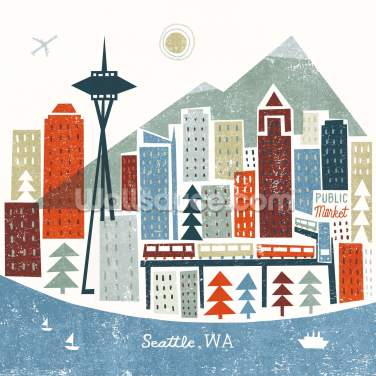 Colourful Seattle Wallpaper Wall Murals
