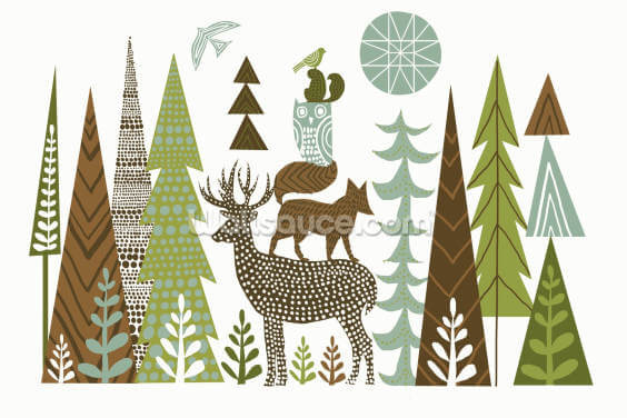 Forest Folklore Green Wallpaper Wall Murals