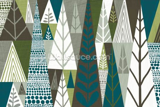 Forest Green Geometric Wallpaper Wall Murals