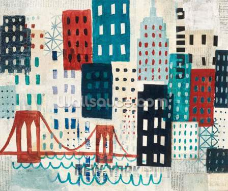 NY Skyline Collage Wallpaper Wall Murals