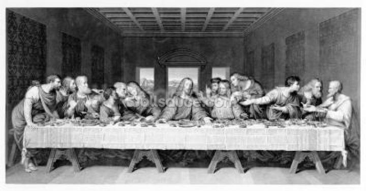 The Last Supper, engraved by Frederick Bacon, 1863 (engraving) Wallpaper Wall Murals