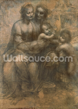 The Virgin and Child with Saint Anne, and the Infant Saint John the Baptist, c.1499-1500 (charcoal heightened with white chalk on paper, mounted on canvas) Wallpaper Wall Murals