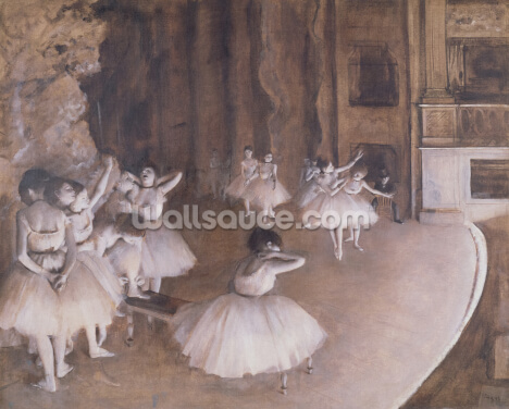 Ballet Rehearsal on the Stage, 1874 (oil on canvas) Wallpaper Wall Murals