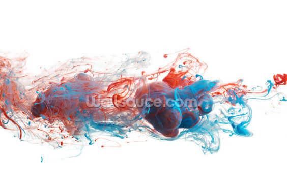 Red and Blue Ink Abstract Wallpaper Wall Murals