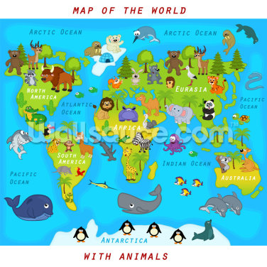 Map of the World with Animals Wallpaper Wall Murals