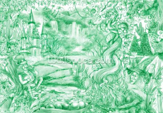 Green Illustration Wallpaper Wall Murals