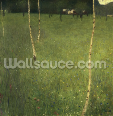 Farmhouse with Birch Trees, 1900 (oil on canvas) Wallpaper Wall Murals