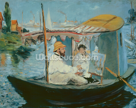Manet in his Floating Studio, 1874 (oil on canvas) Wallpaper Wall Murals