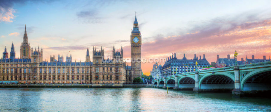 Panorama of Big Ben, Westminster Palace and River Thames Wallpaper Wall Murals