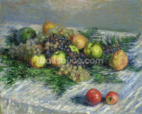 Still Life with Pears and Grapes, 1880 (oil on canvas) Wallpaper Wall Murals
